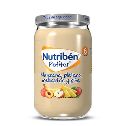 potito con piña para bebés de 6 meses, piña y melocotón
